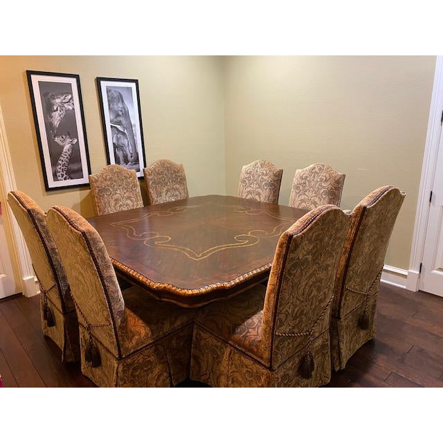 Gold Embossed Dining Table and Chairs For Sale - Image 9 of 10