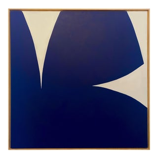 Contemporary Graphic Blue and White Abstract Painting by Brooks Burns, Framed For Sale
