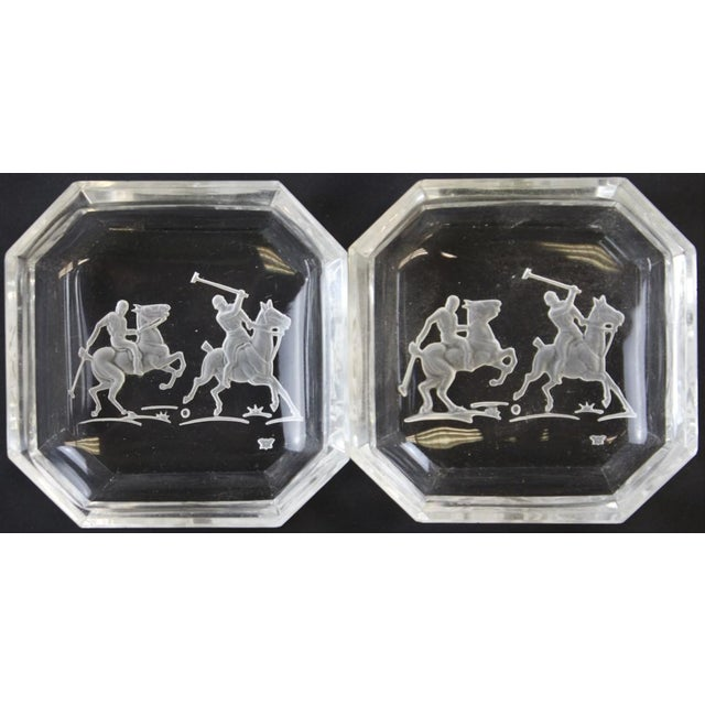 """Octagonal James II Baccarat Crystal """"Polo Player"""" Ashtrays - A Pair - Image 2 of 4"""
