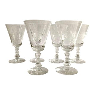 """Vintage 1980s Fostoria Crystal Etched """"Rose"""" Pattern Wine Glasses - Set of 6 For Sale"""