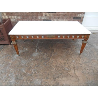 Antique French Louis XVI Marble & Brass Ormolu Coffee Table With Sevres Plaques Preview