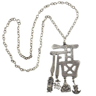 Pewtertone Chinese Character Pendant Necklace For Sale