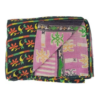 Vintage Twin Black & Pink Kantha Quilt For Sale