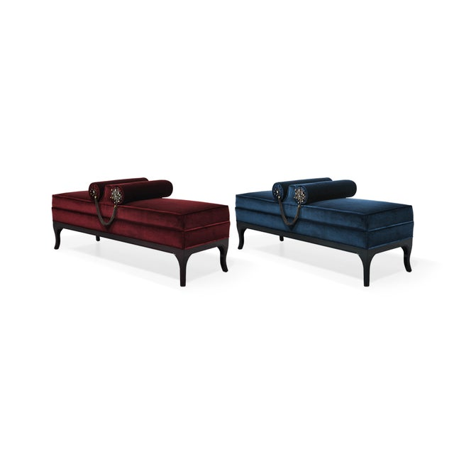The Le-Le bench will begin your love affair with luxury. Her petite body is sumptuously upholstered in decadent fabric...