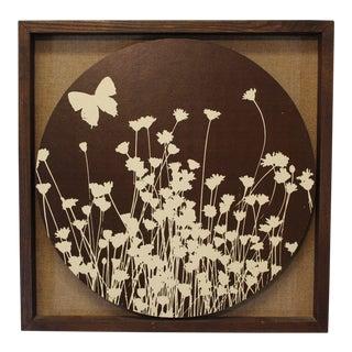 1972 Mid-Century Modern Flowers Butterfly Art by Greg Copeland For Sale