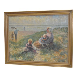 Carl Mulertt (1869-1915) Mother & Child Seaside Oil Painting C.1910 For Sale