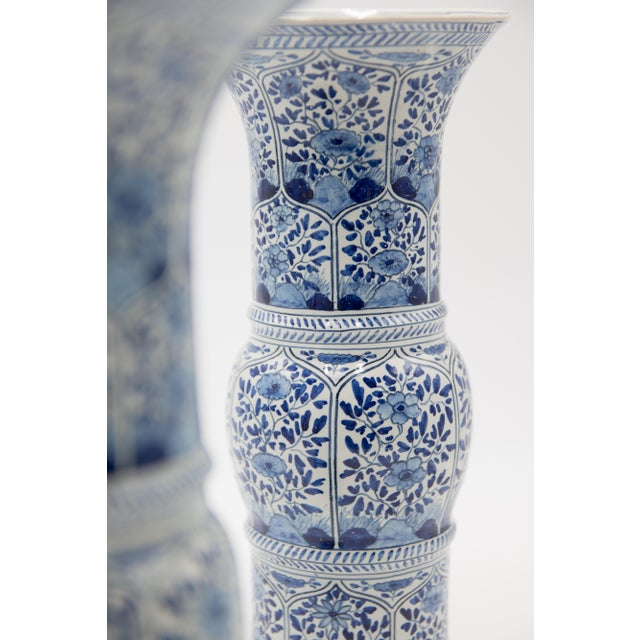 Large Antique 19th-Century Dutch Delft Vases - a Pair For Sale In Houston - Image 6 of 8