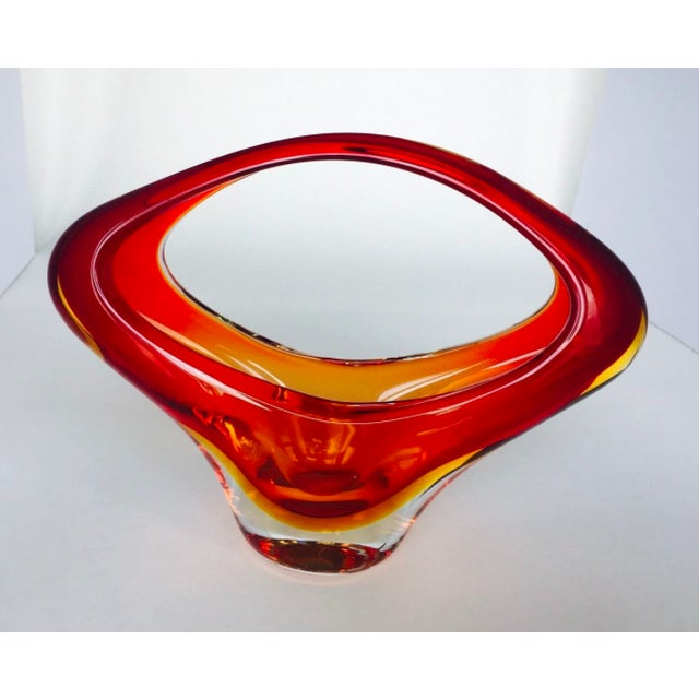 "Vintage Handblown Italian Murano Sommerso style Art Glass Basket Vase in red, clear, and amber. Measures 7.5""H x 9.75""W,..."