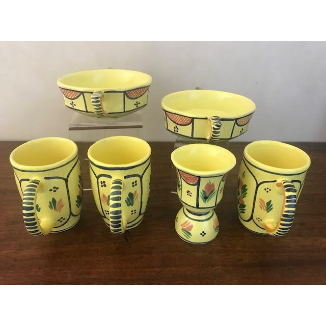French Vintage French Hand Painted HB Quimper Soleil Dish Set - 6 Piece Set For Sale - Image 3 of 10