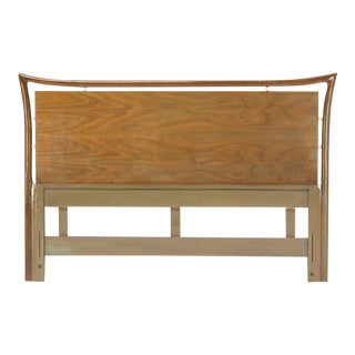 Mid-Century Modern Pickled Walnut Figural Queen Headboard For Sale