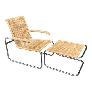 Late 20th Century Marcel Breuer B35 by Thonet Bauhaus Wicker & Chrome Armchair & Ottoman For Sale