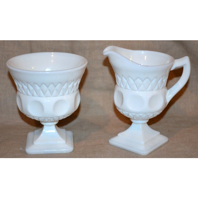 1950s Vintage McKee Plymouth Pattern Sugar and Creamer Set For Sale - Image 5 of 5