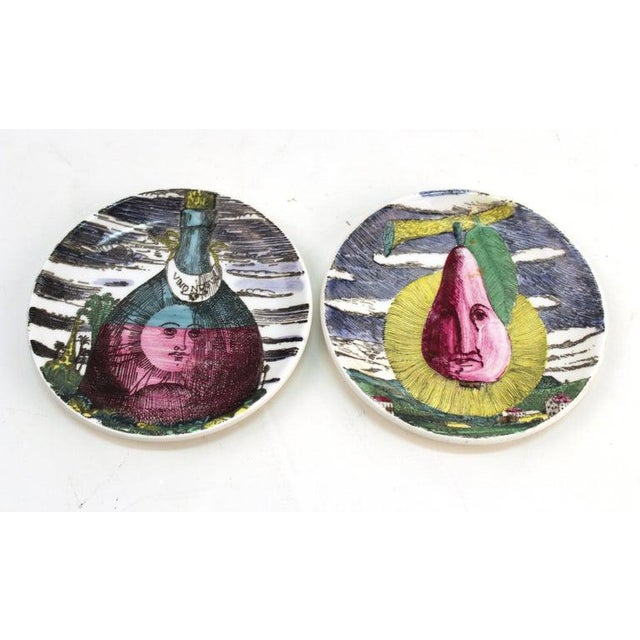 """1960s 1960s Fornasetti """"Soli E Lune"""" Porcelain Coasters With Original Box - Set of 6 For Sale - Image 5 of 10"""