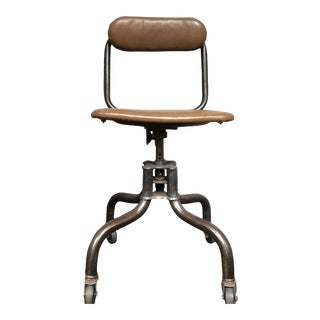 Vintage Industrial Metal Desk Chair For Sale