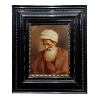 1900s Raphaël Chichmanian Portrait of an Islamic Patriarch Armenian Oil Painting For Sale