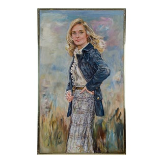 1980s Illustration Portrait Painting of Gail Howard by Suzanne McCullough Plowden