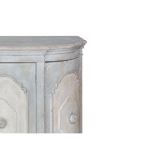French Louis XV style buffet made in wood with 2 doors in distressed grey-blue/white faded paint finish . Measurements...