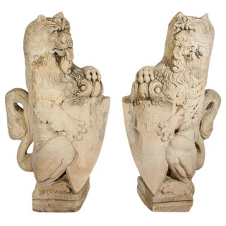 18th C. French Limestone Lions For Sale