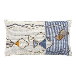 "Schumacher Artigianale Italian Handwoven Mediterraneo Blue 47"" Oversized Floor Pillow For Sale"