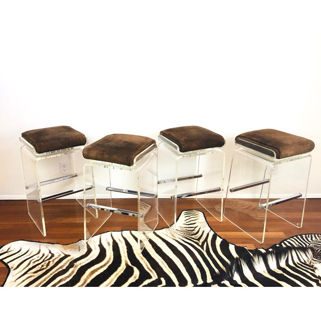 """Vintage 1970s / 1980s Charles Hollis Jones Attributed Lucite Bar Stools - we have to say """"attributed"""" to because there is..."""