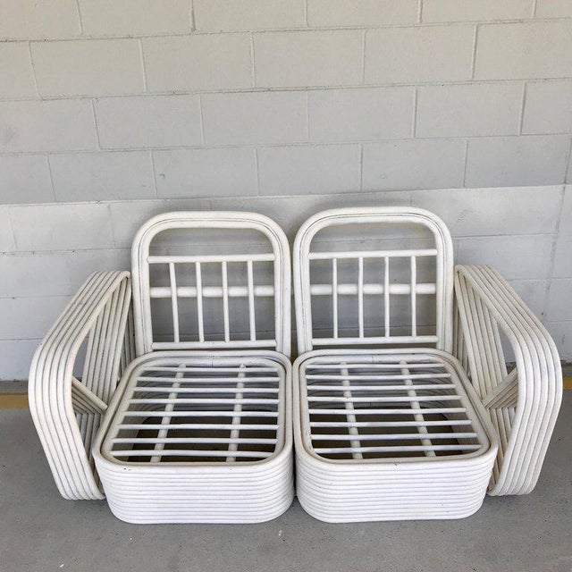 1950s Two Rattan Sofa Frames by Paul Frankl, in Dove White For Sale - Image 5 of 13