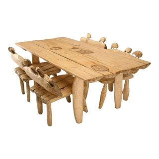 Jerzy S. Kenar Hand-Carved Sheep Adorned Dining Set - Set of 5