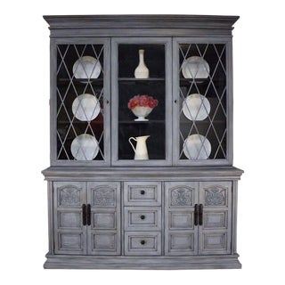 Vintage Gray Painted China Hutch