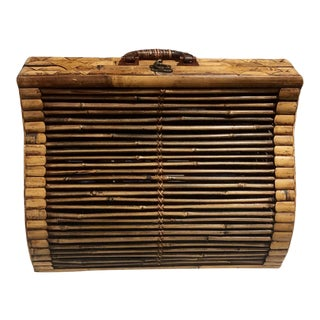 1980s Chippendale Palm Beach Island Style Tortoise Bamboo Rattan Bentwood Luggage - Large For Sale