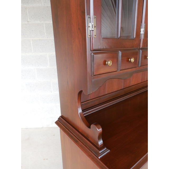 Frederick Duckloe & Bros Solid Cherry Chippendale Style China Pewter 2pc Cabinet For Sale - Image 4 of 13
