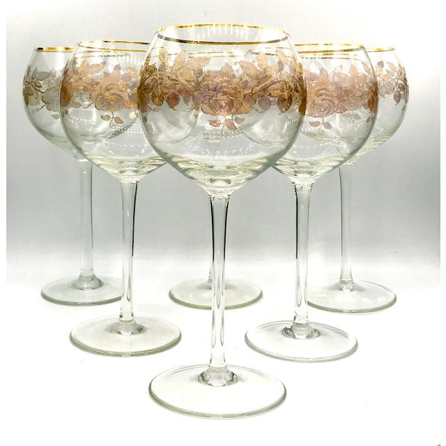 Early 20th Century Antique French Baccarat Gold Encrusted Needle Etch Crystal Hock Glasses- Set of 6 For Sale - Image 12 of 13