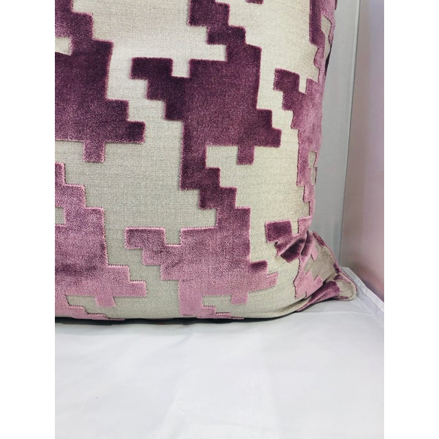 """A beautiful 21"""" square lilac large scaled houndstooth pillow from Robert Allen Fabrics. Made from luxurious cotton velvet,..."""