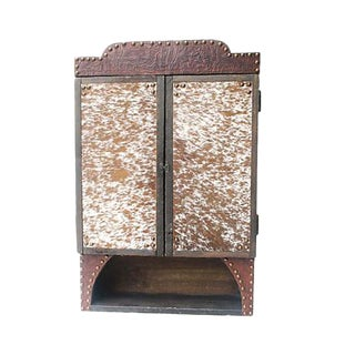 Custom Tooled Leather & Cowhide Hanging Cabinet For Sale