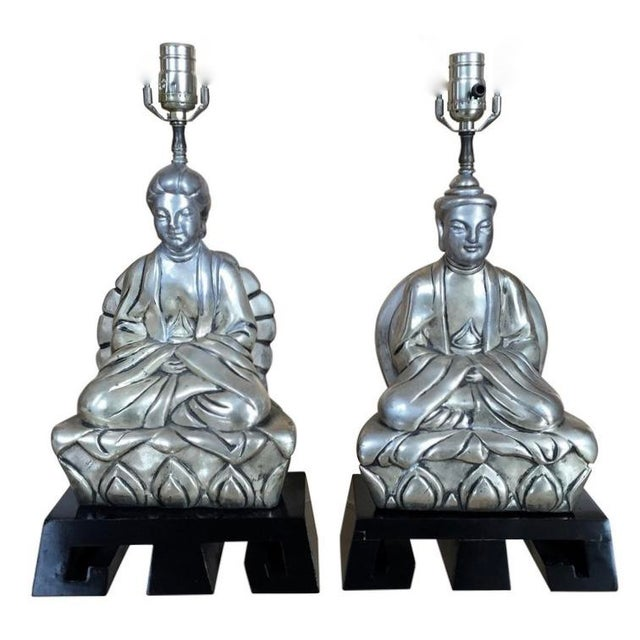 1950s Chinese Figural Table Lamps - a Pair For Sale - Image 9 of 9