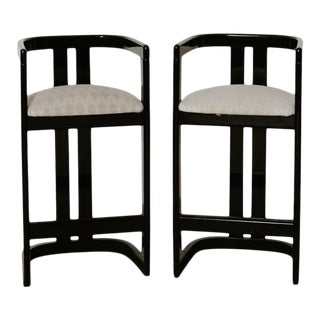 """Karl Springer """"Onassis"""" Style 1980s Black Lacquer Bar Stools - Sold in Pairs For Sale"""