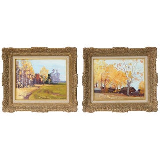 Landscape Acrylic on Board Paintings - Set of 2 For Sale