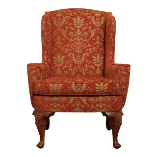 Custom Quality Fine Upholstered Queen Anne Wing Chair For Sale