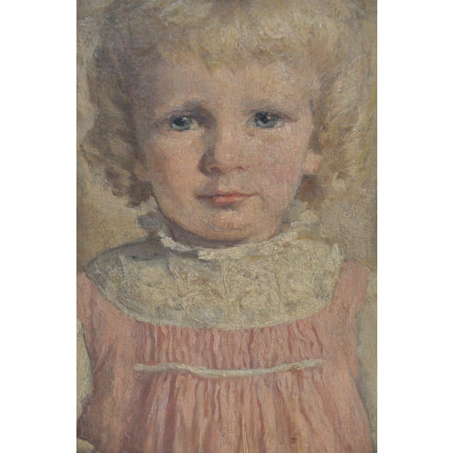 """19th Century """"Young Girl in a Pink Dress"""" Portrait Oil Painting For Sale In San Francisco - Image 6 of 9"""