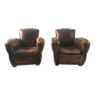Vintage French Leather Club Chairs - A Pair For Sale