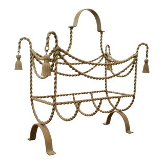 Tassel and Rope Italian Style Magazine Rack For Sale