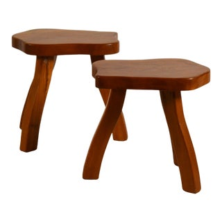 Pair of Polished Walnut Tripod Stools in the Style of Charlotte Perriand For Sale