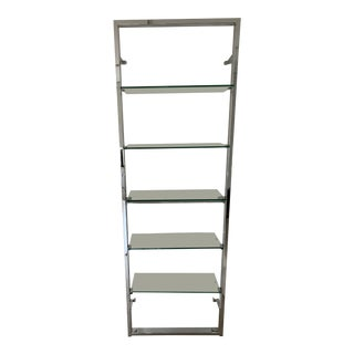 "Cb2 Tesso Chrome 84"" Wall Mounted Bookcase For Sale"