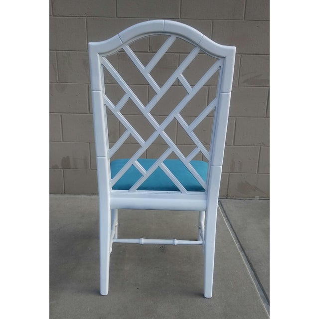 Century Chippendale White Faux Bamboo Chairs - a Pair For Sale - Image 6 of 10