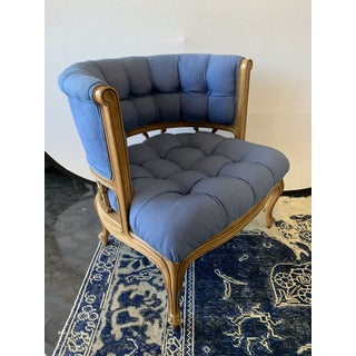 1950s Vintage Curved Tufted Blue Upholstered Armchair Preview
