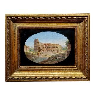 Vintage Italian Micromosaic Plaque Depicting the Coliseum For Sale