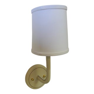 Paul Marra Top-Stitched Leather Wrapped Sconce in Cream For Sale