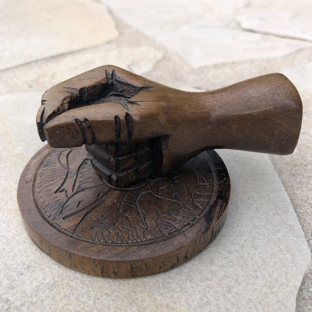 Vintage Carved Wood Human Hand Stamp Sculptural Paperweight For Sale - Image 11 of 13