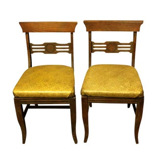 Solid Oak Chairs - A Pair For Sale