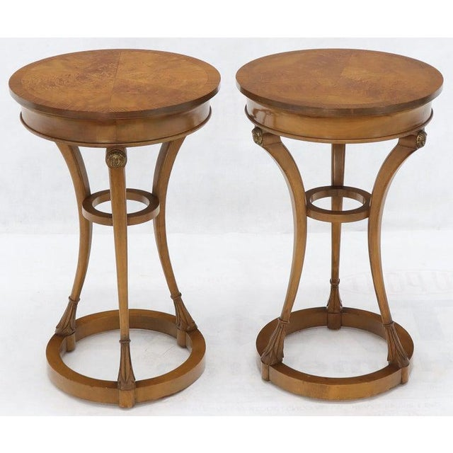 Pair of Tall Round Pedestal Shape Side End Tables on Tri Legged Bases Burl Wood For Sale - Image 4 of 13