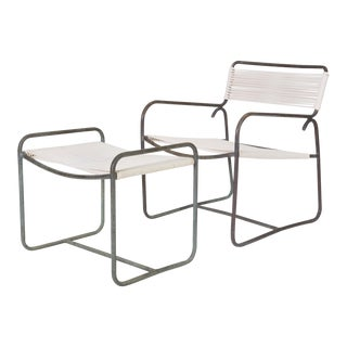 Single Walter Lamb Patio Lounge Chair and Ottoman Set For Sale