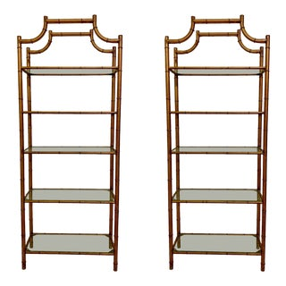 Pair of Hollywood Regency Style Faux Bamboo Etageres For Sale